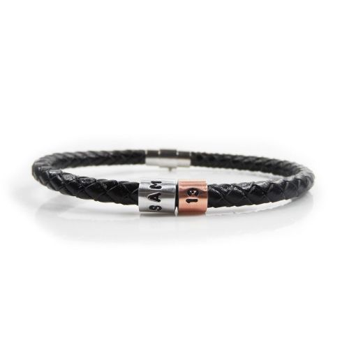 Personalised 13th Birthday Leather Bracelet – Gift Boxed – Free Delivery
